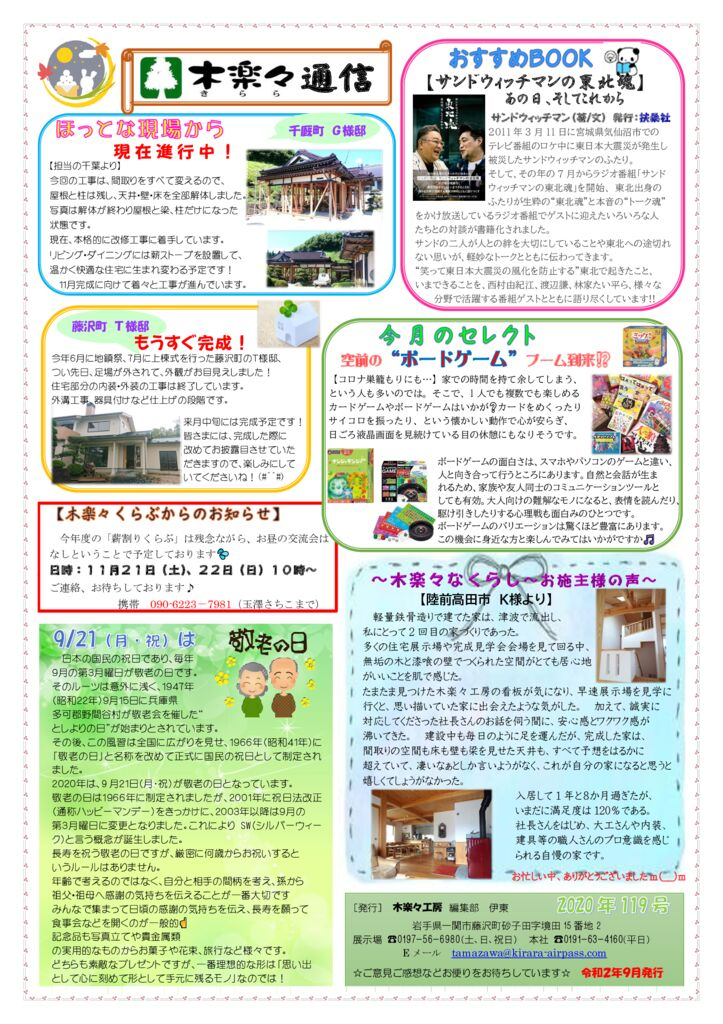 木楽々通信最新号(119号)を発行しました!